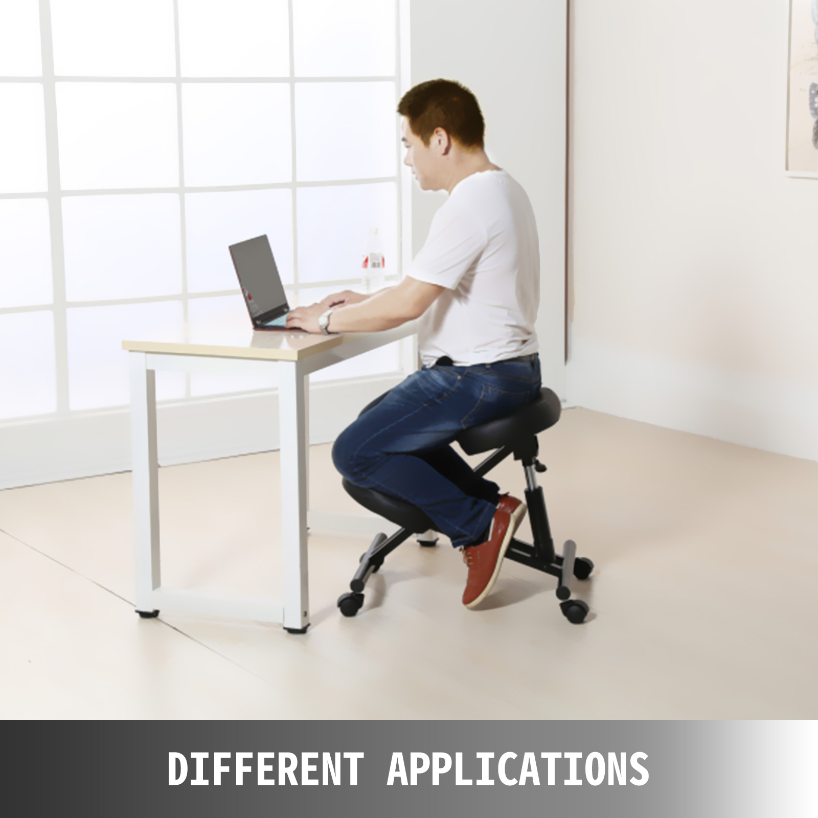 kneeling chair m100 7 - VEVOR Ergonomic Kneeling Chair Adjustable Kneeling Stool Thick Comfortable Cushions for Office Home Balancing Back Body Shaping