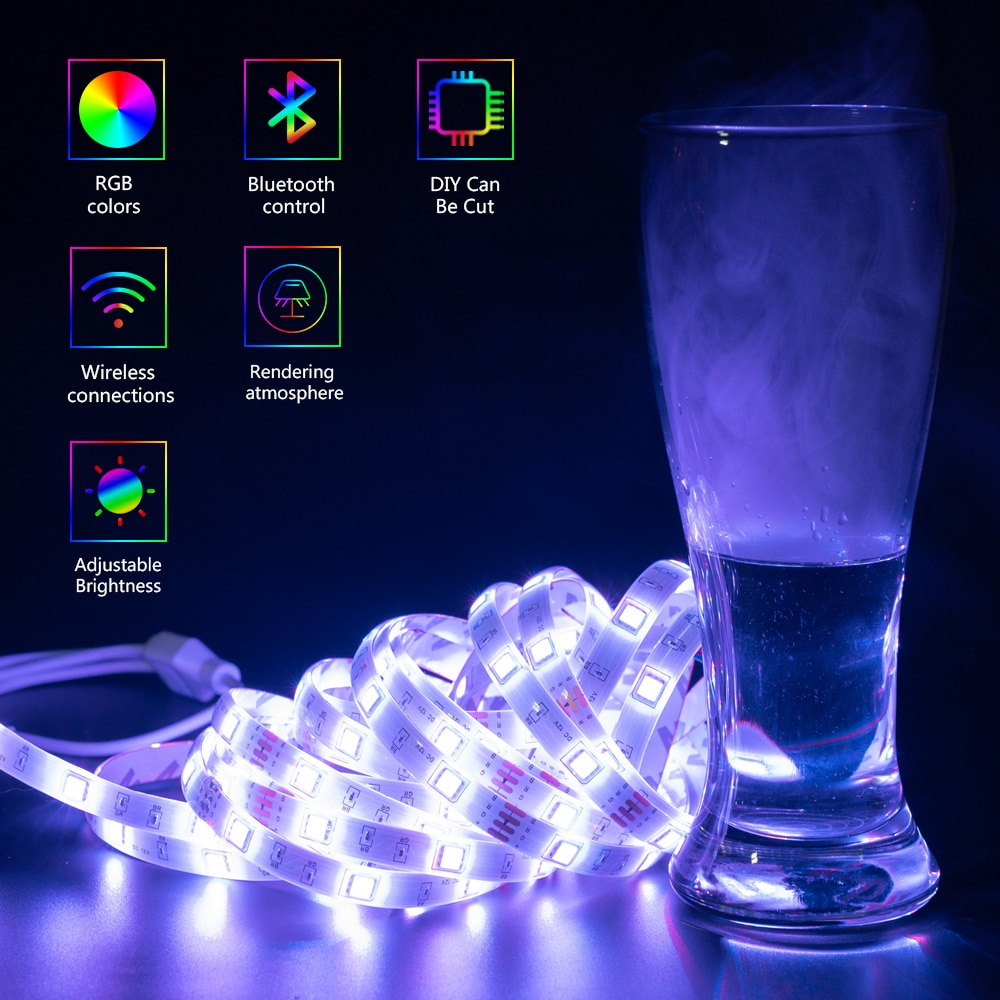 H03aaa2dc020441cda7be1d304a65fc7eO - LED Strip Lights WIFI RGB 5050 Fita 16.4-65.6 Feet For Party Bedroom TV Computer Decoration Luces Supports Alexa Google Control