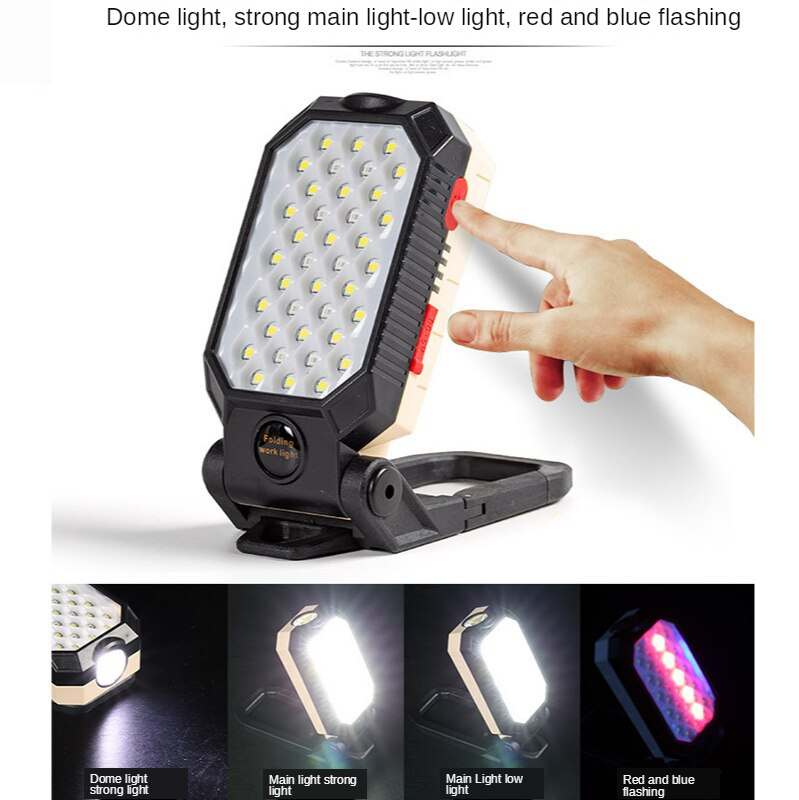 H0498179252ad408ca2db731af0b60018n - ZHIYU LED COB Rechargeable Magnetic Work Light Portable Flashlight Waterproof Camping Lantern Magnet Design with Power Display