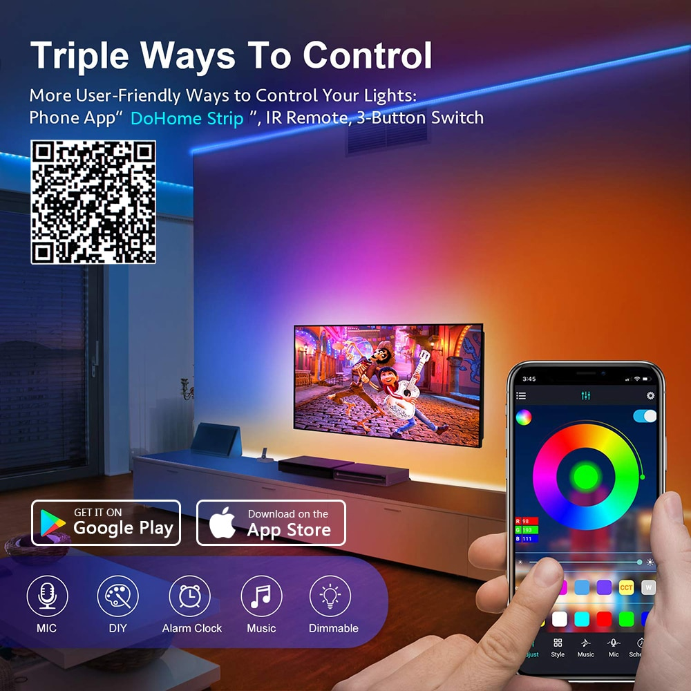 H071ea2f0d96e448a8f1aaf099c3c6f42S - LED Strip Lights WIFI RGB 5050 Fita 16.4-65.6 Feet For Party Bedroom TV Computer Decoration Luces Supports Alexa Google Control