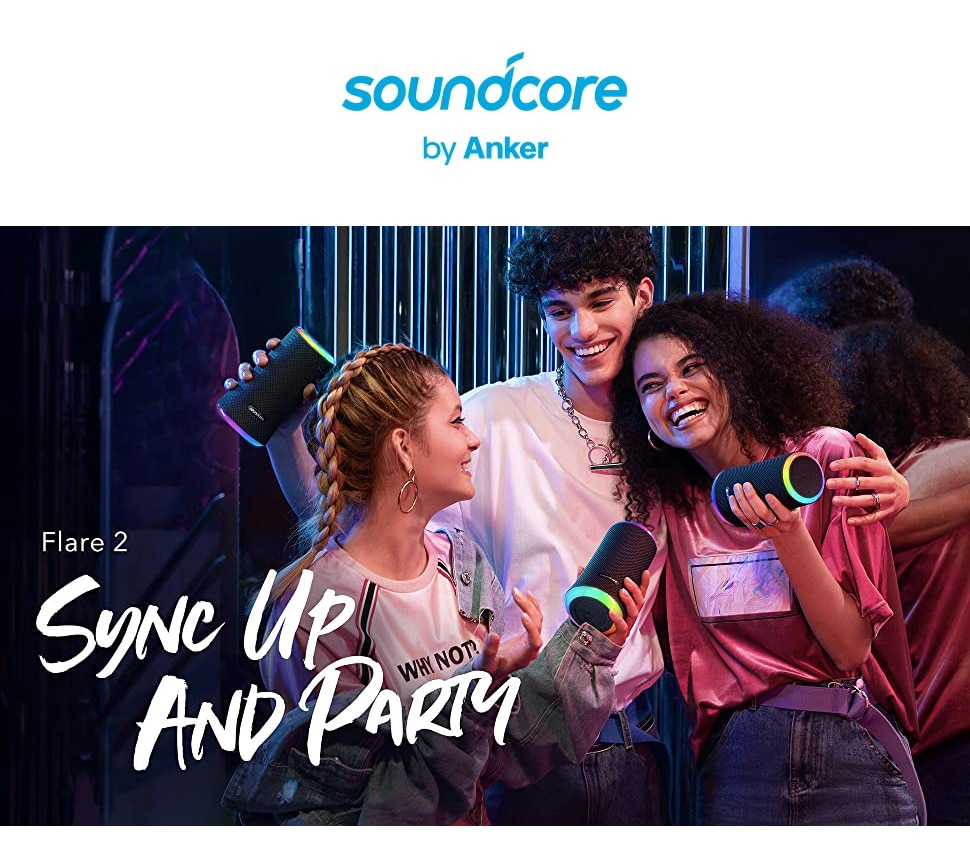 H0a4895a773624a659bcf2bb5f1b4d77dI - Anker Soundcore Flare 2 Bluetooth Speaker, with IPX7 Waterproof Protection and 360° Sound for Backyard and Beach Party, 20W Wire