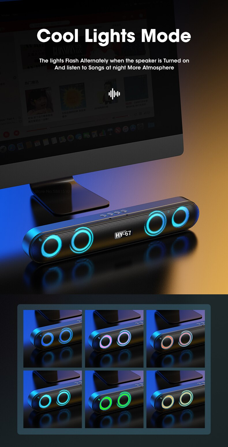 H11a9f4b116d14fa49a764ed325e78cb5f - Computer Soundbar Desktop Bluetooth Speakers Rechargeable 6D Deep Bass Stereo Subwoofer AUX Wired For Laptop PC TV Loudspeaker