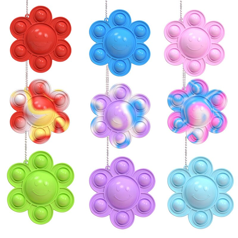 H11f5d3aa35b643348ca1ed8bf6547044H - Funny Rainbow Sunflower Overturned Decompression Toy Children Adults Silicone Simple Dimple Push Bubble Sensory Toy Kids