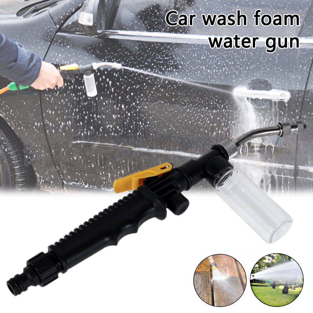 H1235b7d6c74749f4b2eab08cec0f93aet - Stainless Steel Long Rod Water Gun High Pressure Air Conditioner Copper Nozzle Cleaning Tool Car Wash Gun with Foam Bottle