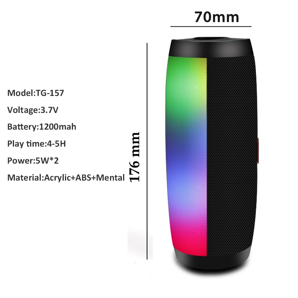 H136b857d52444ed8a867f7ca42b33441P - Wireless Speaker Bluetooth-compatible Speaker Microlab Portable Speaker Powerful High Outdoor Bass TF FM Radio with LED Light