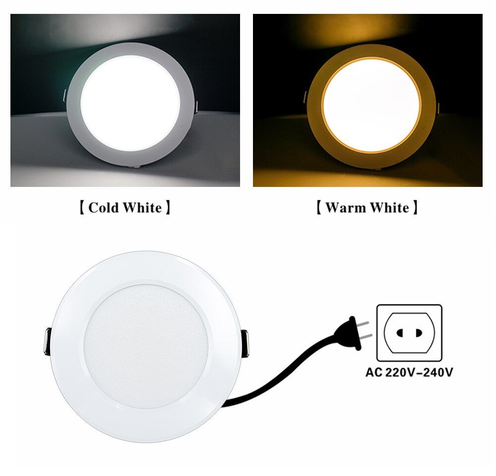 H18440d6fea01401fba90d2f14e64a4513 - 10pcs/lot LED Downlight 3W 5W 7W 9W 12W 15W AC 220V Warm Cold White Recessed LED Lamp Spot Light Led Bulb For Bedroom Kitchen