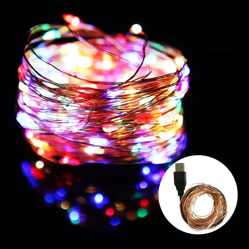 H21a58fab321949699b5b3edaf707e412w - 2/5/10/20M USB LED String Lights Copper Silver Wire Garland Light Waterproof Fairy Lights For Christmas Wedding Party Decoration