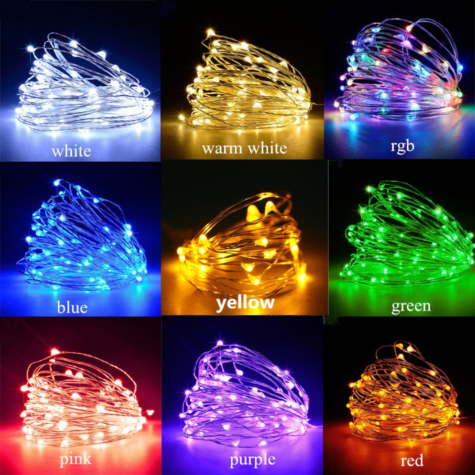 H29a527e1013947b1b31cc9127fbf1a0fG - Led Fairy Lights Copper Wire String 1/2/5/10M Holiday Outdoor Lamp Garland Luces For Christmas Tree Wedding Party Decoration