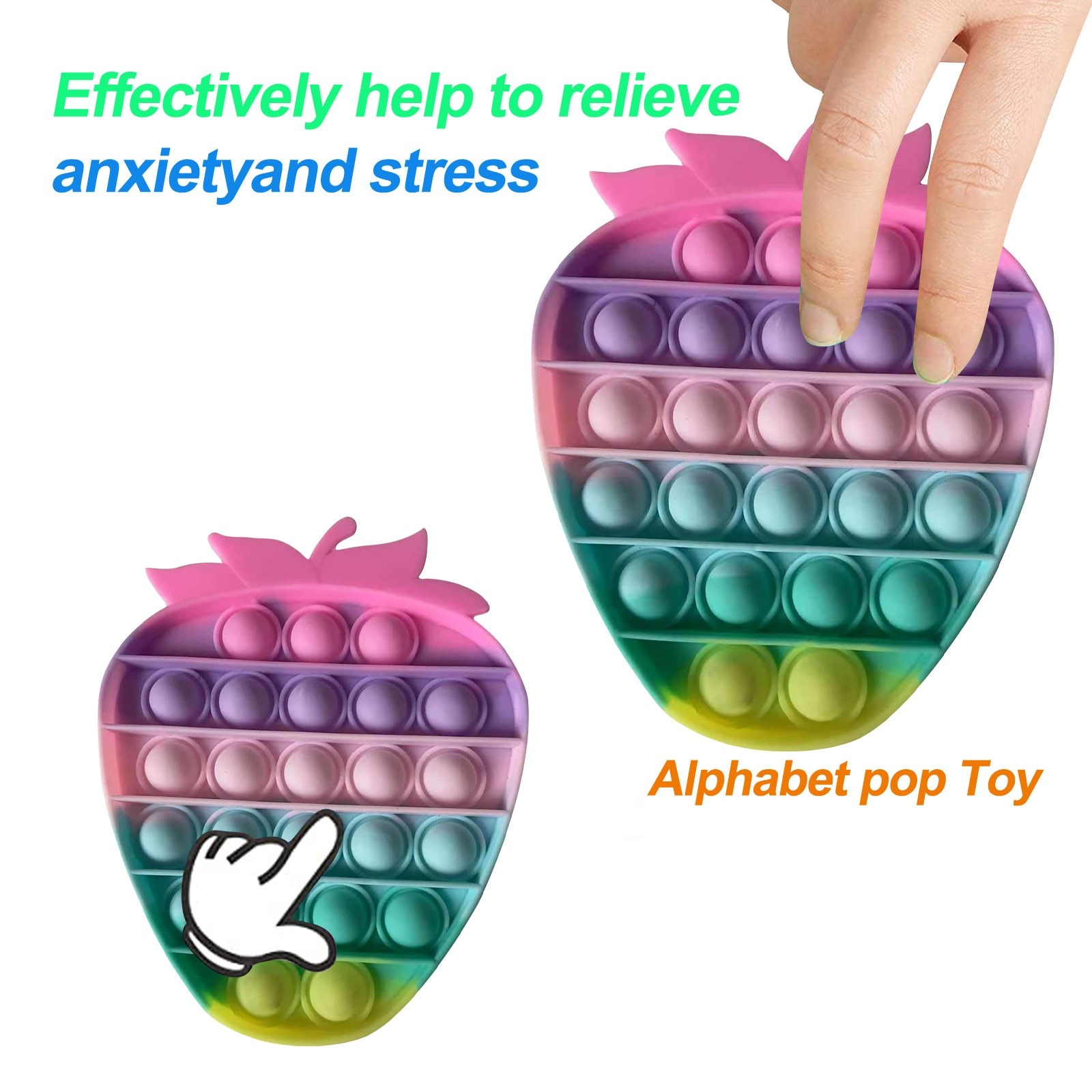 H317338f59890467786117a97d4d91d3aR - Push Bubble Pop Fidget Reliver Stress Toy Rainbow Antistress Toys Adults Children Sensory Toys to Relieve Autism Free Shipping