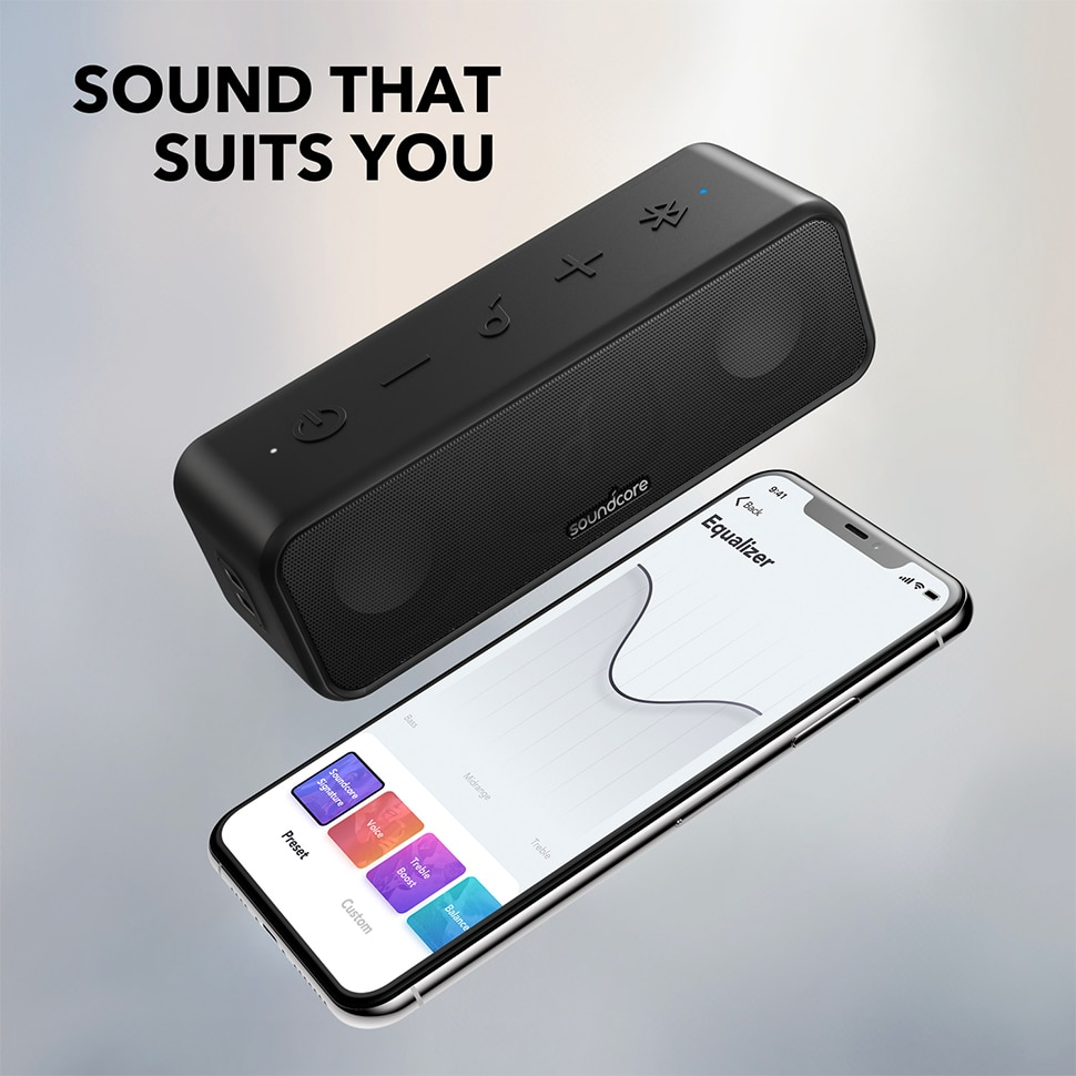 H31cf2fddceb941a8a6a8496f8cdfc5d0f - Soundcore 3 Bluetooth Speaker with Stereo Sound, Pure Titanium Diaphragm Drivers, PartyCast Technology, BassUp, 24H Playtime