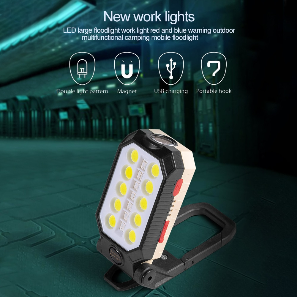 H34654b847d804bc78ab7d11fada998aa4 - USB Rechargeable COB Work Light Portable LED Flashlight Adjustable Waterproof Camping Lantern Magnet Design with Power Display