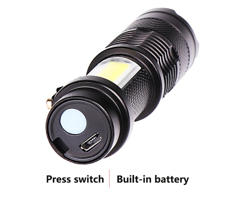 H44294a6977804e7c9f926e828565a636e - Zoomable Led Flashlight Built-in Battery XP-G Q5 Mini Torch Lamp Adjustable Penlight Waterproof For Outdoor Camping Lantern