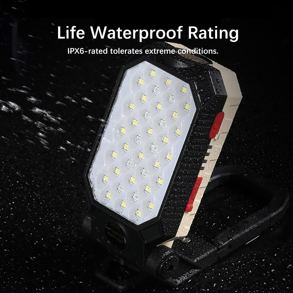 H45366edac31145a090603209db43677b0 - USB Rechargeable COB Work Light Portable LED Flashlight Adjustable Waterproof Camping Lantern Magnet Design with Power Display