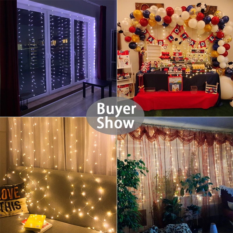 H46f5f164d8994e4090bafcb7e3975f19Y - LED String Lights Christmas Decoration Remote Control USB Wedding Garland Curtain 3M Lamp Holiday For Bedroom Bulb Outdoor Fairy