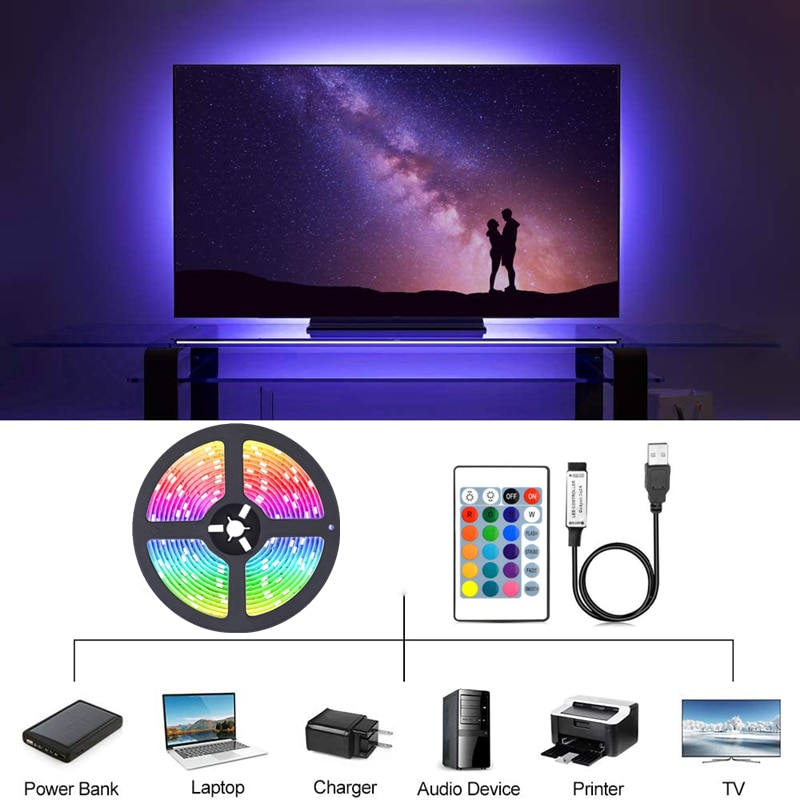 H560d10eaaa4a4c319c41b8d2f70665f21 - LED Light Bar RGB 2835 Color Bluetooth USB Infrared Remote Control Flexible Light With Diode DC5V TV Backlight Suitable For Home