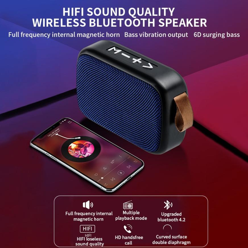 H5ccfc19774dc45739026184cb2945be2M - G2 New Wireless Fabric Bluetooth Speaker Small Portable Cannon Mini Voice Broadcast The Card Instert Vehicular Audio System