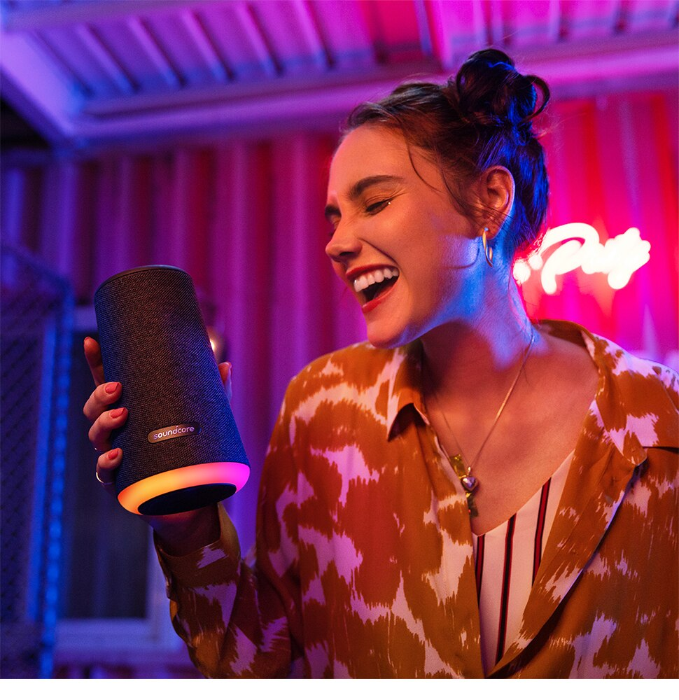 H60e97a26e1794be4909094c0550d5ba21 - Soundcore Flare Portable Bluetooth Speaker by Anker Huge 360' Sound IPX7 Waterproof Bigger Bass Ambient LED 20 -Hour Playtime