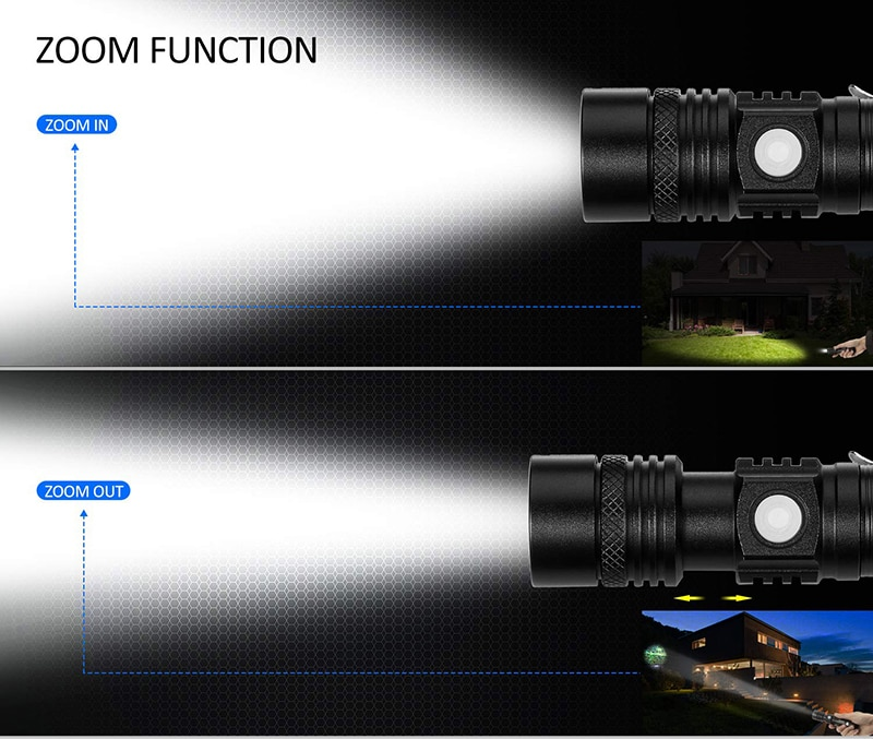 H631ef20acb7b4f898c50d7b8af21261e2 - Ultra Bright LED Flashlight With XP-L V6 LED lamp beads Waterproof Torch Zoomable 4 lighting modes Multi-function USB charging