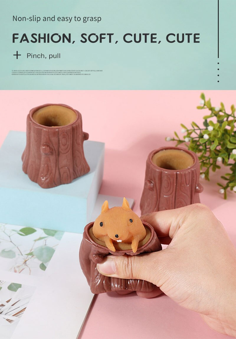 H6815c6aace2e47308d0c4121f44773faI - Cute Cartoon Squirrel Squeeze Anti-Stress Toys For Boy & Girls Fidget Toys Adult Stress Relief Decompression Toy Gift