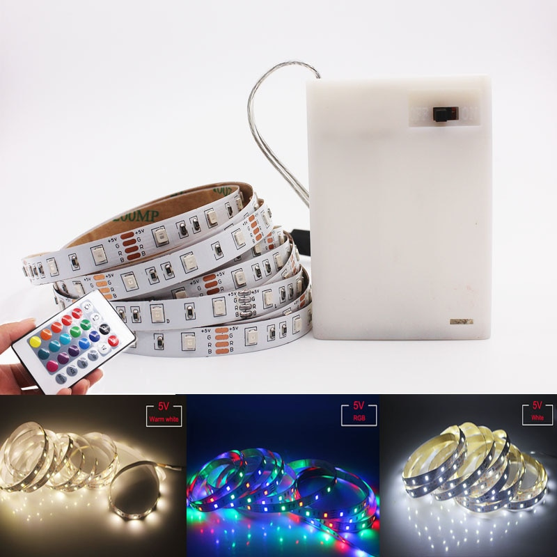 H6b667fb3bde44635a234f178a6ab08b2F - LED Strip Lights 5050 2385 Flexible RGB Battery Decoration Lighting Remote Controller Ribbon Lamp For TV Mirror Cabinet Bedroom