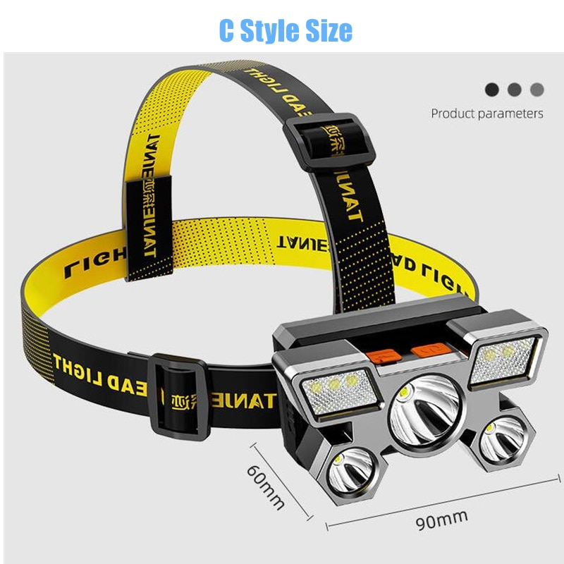 H6be4c87bb837440ea1ee63838926d54ds - Drop Shipping 5LED With Built-in 18650 Battery USB Rechargeable Portable Flashlight Lantern Headlamp Outdoor Camping Headlight