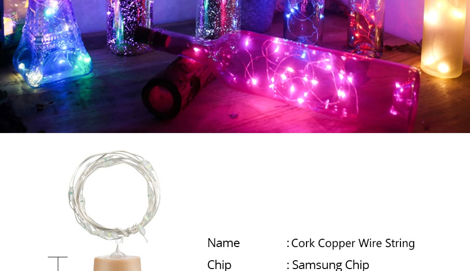 H6dddd11d374f4028af444807ac62de99I - 1M 2M Wine Bottle Lights With Cork LED String Light Copper Wire Fairy Garland Lights Christmas Holiday Party Wedding Decoration
