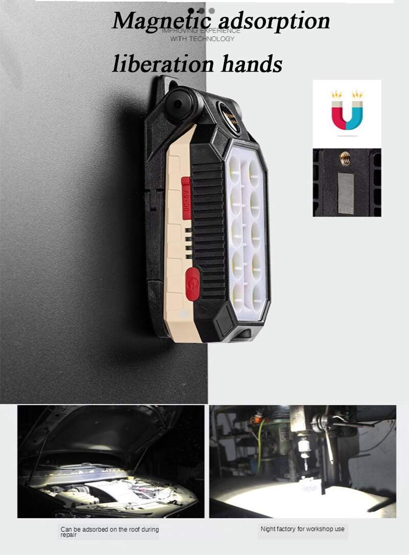 H6e92e61434724469b652560f29db1aa7h - ZHIYU LED COB Rechargeable Magnetic Work Light Portable Flashlight Waterproof Camping Lantern Magnet Design with Power Display