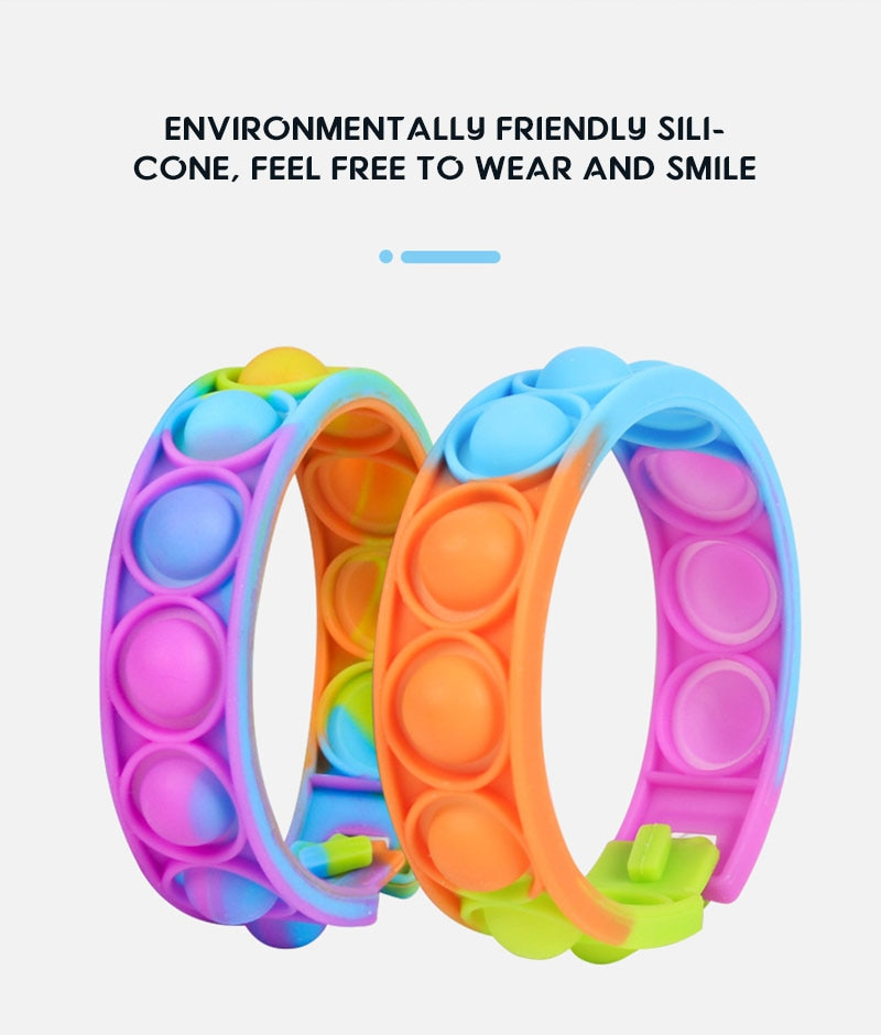 H72ec69410f214600918b6b13d4f83017g - New Fidget Toys For Children Push Bubble Dimple Bracelet Decompression Toy Adults Anti Stress Reliever Sensory Toy Kids Gift