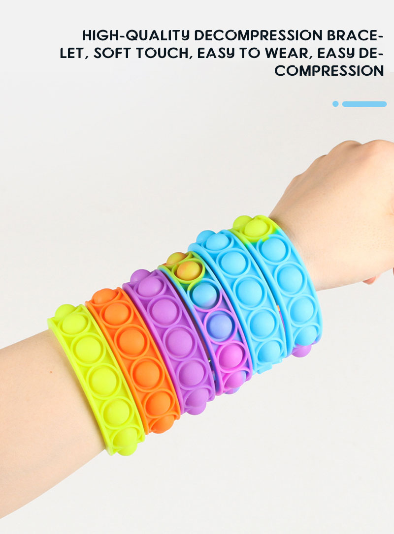 H757c1470f5a44e8c8e9aa644344a00d0m - New Fidget Toys For Children Push Bubble Dimple Bracelet Decompression Toy Adults Anti Stress Reliever Sensory Toy Kids Gift