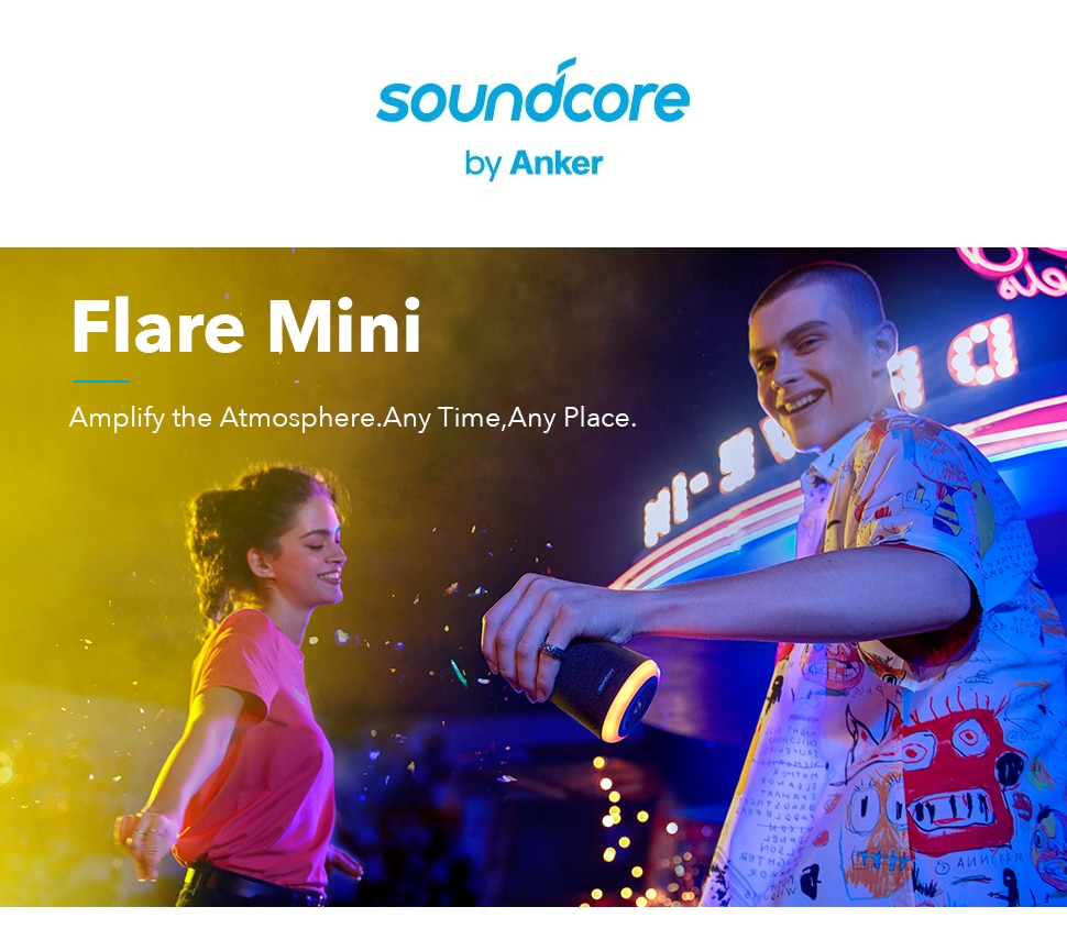 H78c6bbdb7e264249a77bba166798d67dX - Anker Soundcore Flare Mini Bluetooth Speaker, Outdoor Bluetooth Speaker, IPX7 Waterproof for Outdoor Parties