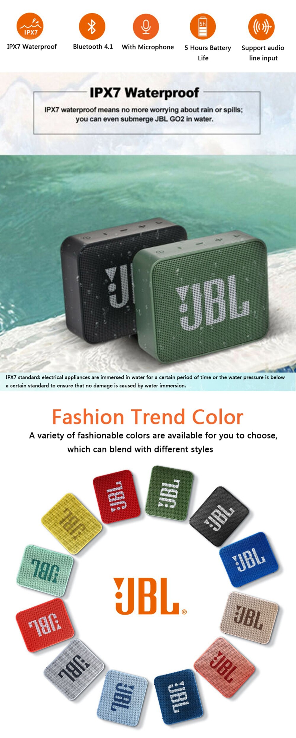 H830f44c0a3034cf5a8e62a81d78a17feE - JBL Go 2 Bluetooth Speaker Outdoor Sports Portable go2 Speakers Stereo Waterproof Subwoofer Travel Mini Boombox GO 3 Sounfbar