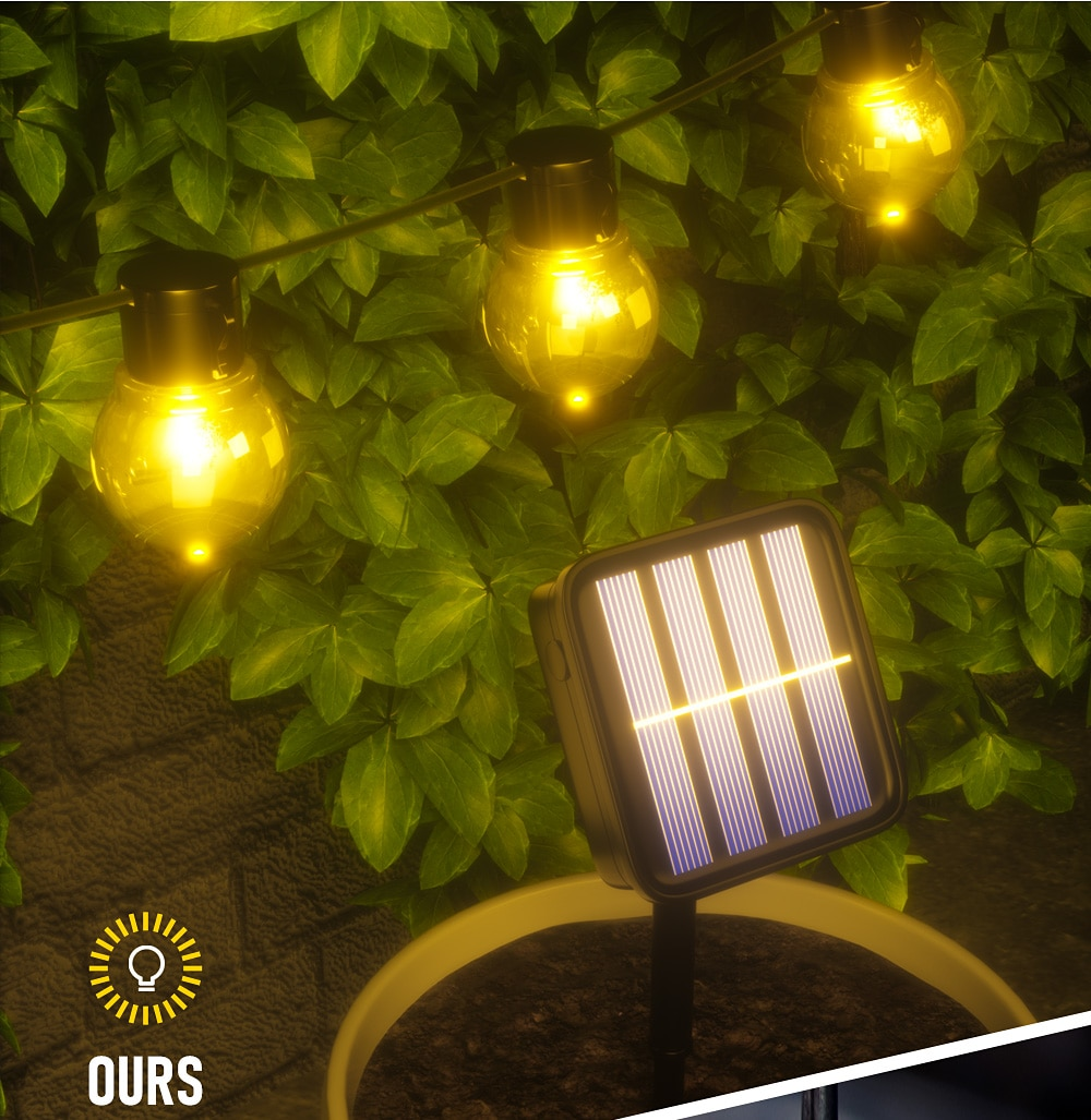 H849877380d7a4e72aa2a735fa54d6960F - Outdoor Garland Street LED G50 Bulb Solar Energy String Light As Christmas Decoration Lamp For Home Indoor Holiday Lighting