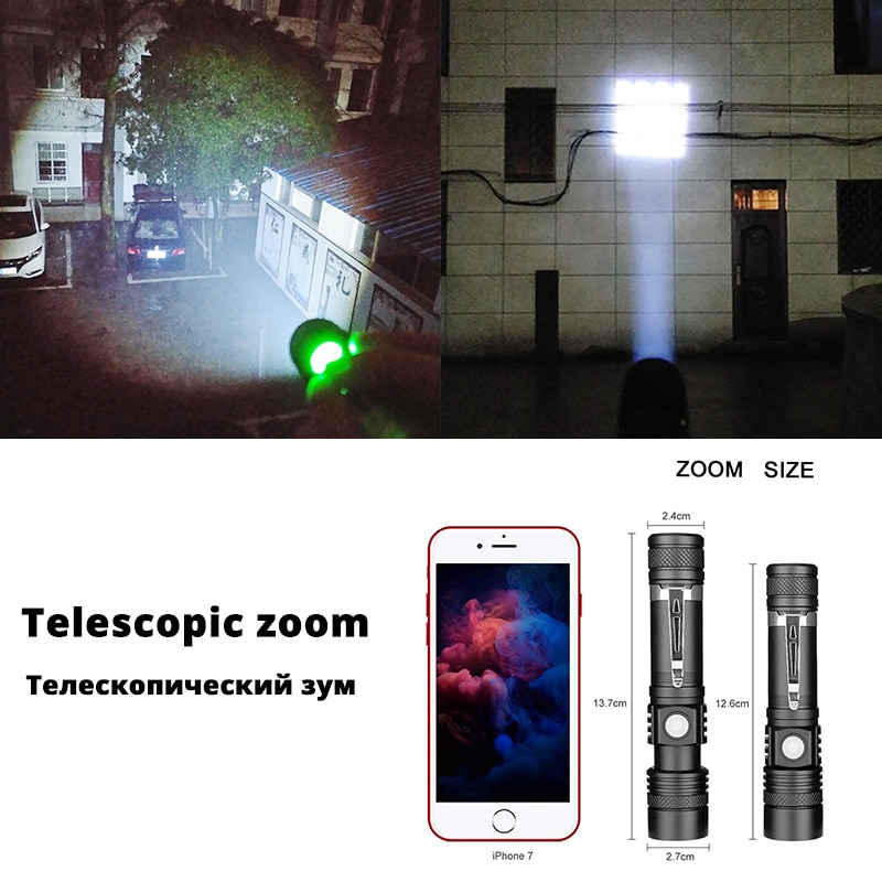 H86bd93da74084bf68cf497240d3413d3N - Ultra Bright LED Flashlight With XP-L V6 LED lamp beads Waterproof Torch Zoomable 4 lighting modes Multi-function USB charging