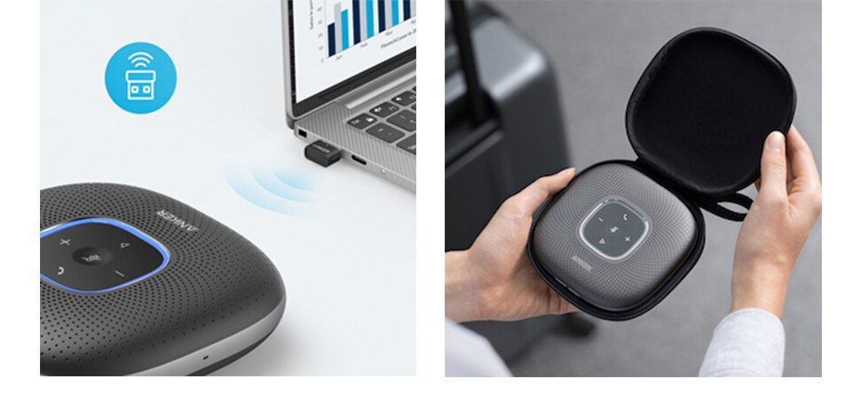 H8757fed5c9144c778a85afcb40b8ccceN - Anker PowerConf Bluetooth Speakerphone with Bluetooth Dongle, 6 Mics, Enhanced Voice Pickup, 24H Call Time, Bluetooth 5,