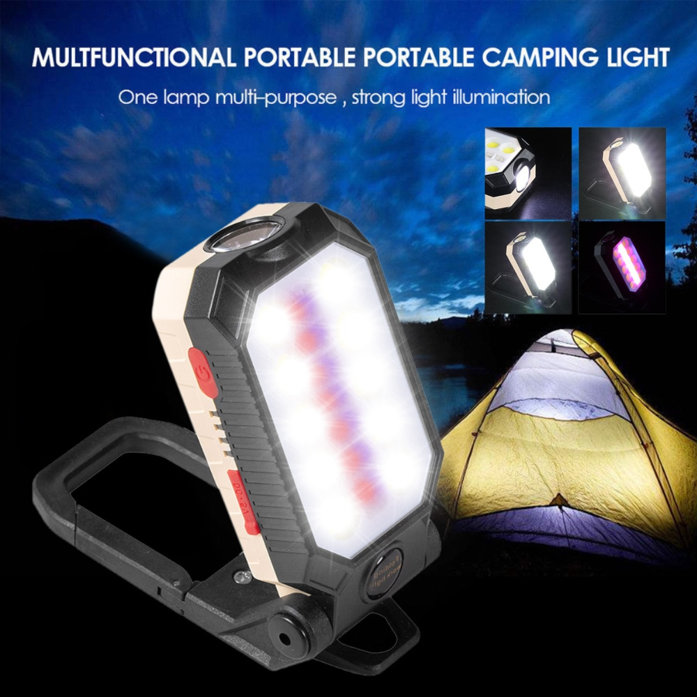 H8cd66cb0398f430fad9adce15ca87297O - USB Rechargeable COB Work Light Portable LED Flashlight Adjustable Waterproof Camping Lantern Magnet Design with Power Display