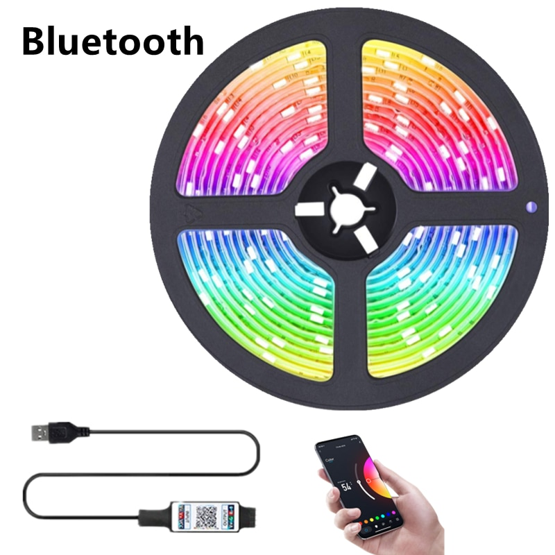 H8f826b18ade14506b07ff873fb1ac77b4 - LED Light Bar RGB 2835 Color Bluetooth USB Infrared Remote Control Flexible Light With Diode DC5V TV Backlight Suitable For Home