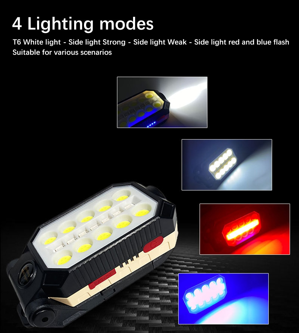 H8fe306fac1a14d5ab6959659fd5fe352f - USB Rechargeable COB Work Light Portable LED Flashlight Adjustable Waterproof Camping Lantern Magnet Design with Power Display
