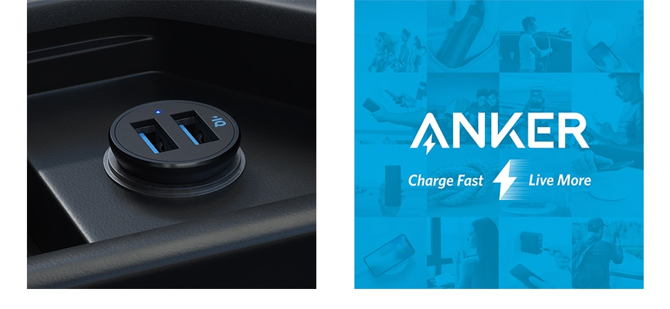 H929cca1f088c4a789d439bf86cd8afc3E - Anker Car Charger, Mini 24W 4.8A Metal Dual USB Car Charger, PowerDrive 2 Alloy Flush Fit Car Adapter with Blue LED