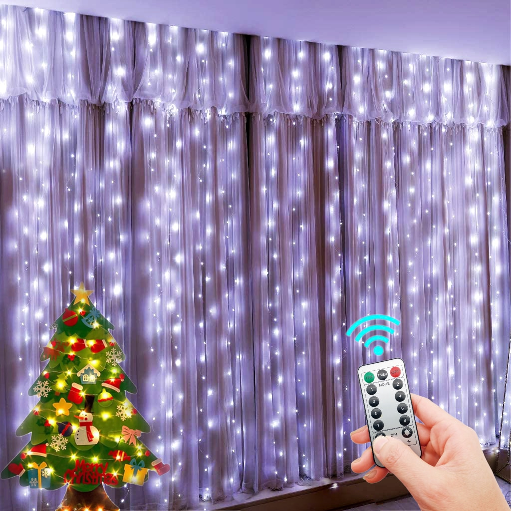 H95233d43bb1a4fcd90b4a73154c5f98bF - LED String Lights Christmas Decoration Remote Control USB Wedding Garland Curtain 3M Lamp Holiday For Bedroom Bulb Outdoor Fairy