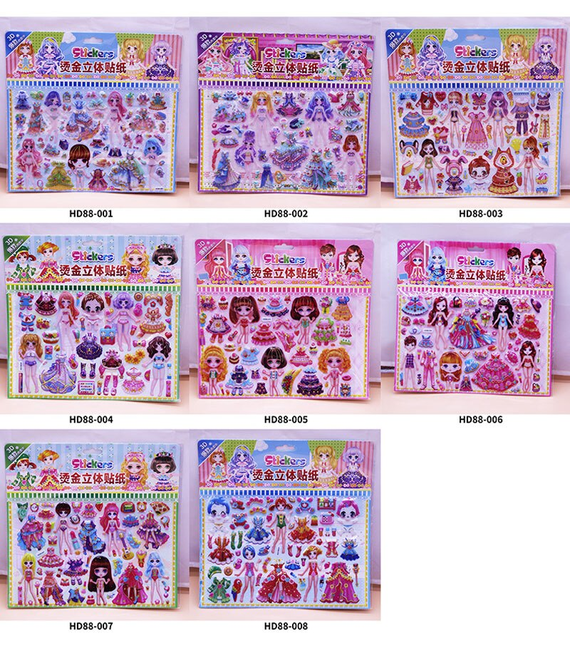H95e838588cf94c71a9e47bfc59fbb9fca - 3D Children Cartoon Bubble Stickers Education Classic Toy Kids Toddlers Cute Girls Dress Up Princess Stickers Birthday Gift