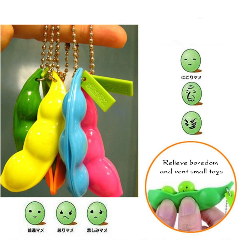 H9863116550c84f71aa540100f7439a0aE - Fidget Squishy Toys Decompression Antistress Toys Squeeze Peas Beans Keychain Relief for Adult Kids Rubber Stress Reliever Toy