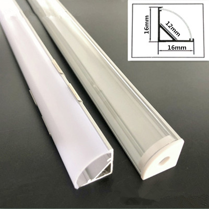 H986da214850542c980020bd5a7494e2b3 - 2-30pcs/lot 0.5m/pcs 45 degree angle aluminum profile for 5050 3528 5630 LED strips Milky white/transparent cover strip channel