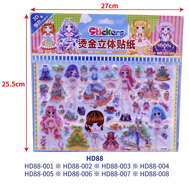 H9932a72c0e0047d696eb48d69cf2eb99L - 3D Children Cartoon Bubble Stickers Education Classic Toy Kids Toddlers Cute Girls Dress Up Princess Stickers Birthday Gift