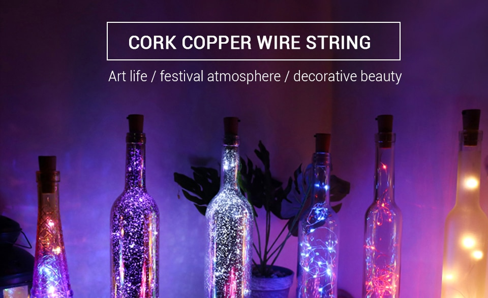 H9b797d4df08a4441ac1e54811abcec59S - 1M 2M Wine Bottle Lights With Cork LED String Light Copper Wire Fairy Garland Lights Christmas Holiday Party Wedding Decoration