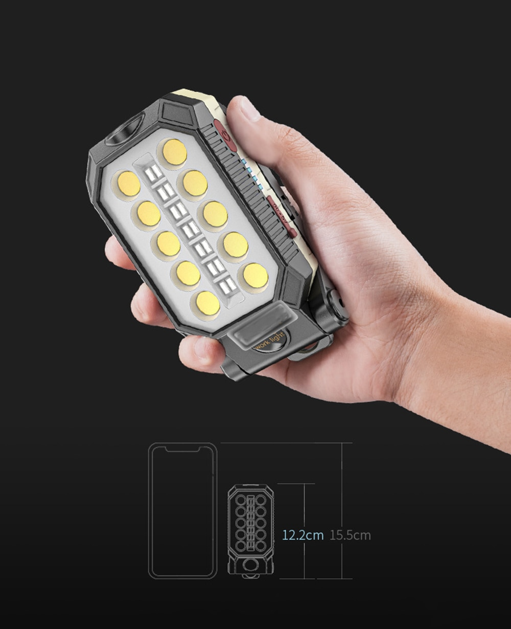 H9cea28ebf52b4f00991258db95f1a9ca7 - USB Rechargeable COB Work Light Portable LED Flashlight Adjustable Waterproof Camping Lantern Magnet Design with Power Display