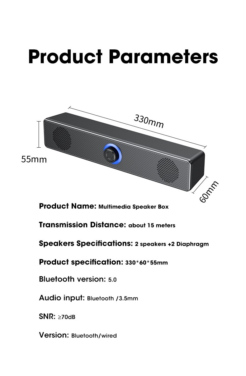 H9e7d9ad6d9f9443a90c211b8b3234b25y - PC Soundbar Wired and Wireless Bluetooth Speaker USB Powered Soundbar for TV Pc Laptop Gaming Home Theater Surround Audio System