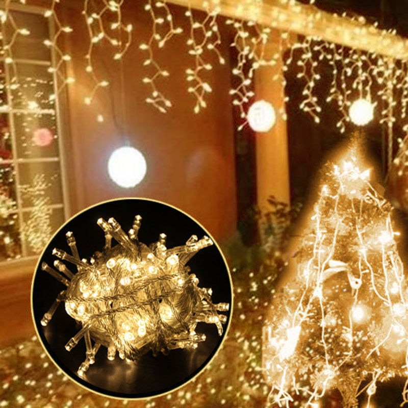 Ha6361eb8acc74c70a174e7cd00314a1fq - 5M Christmas Garland LED Curtain Icicle String Lights Droop 0.4-0.6m AC 220V Garden Street Outdoor Decorative Holiday Light