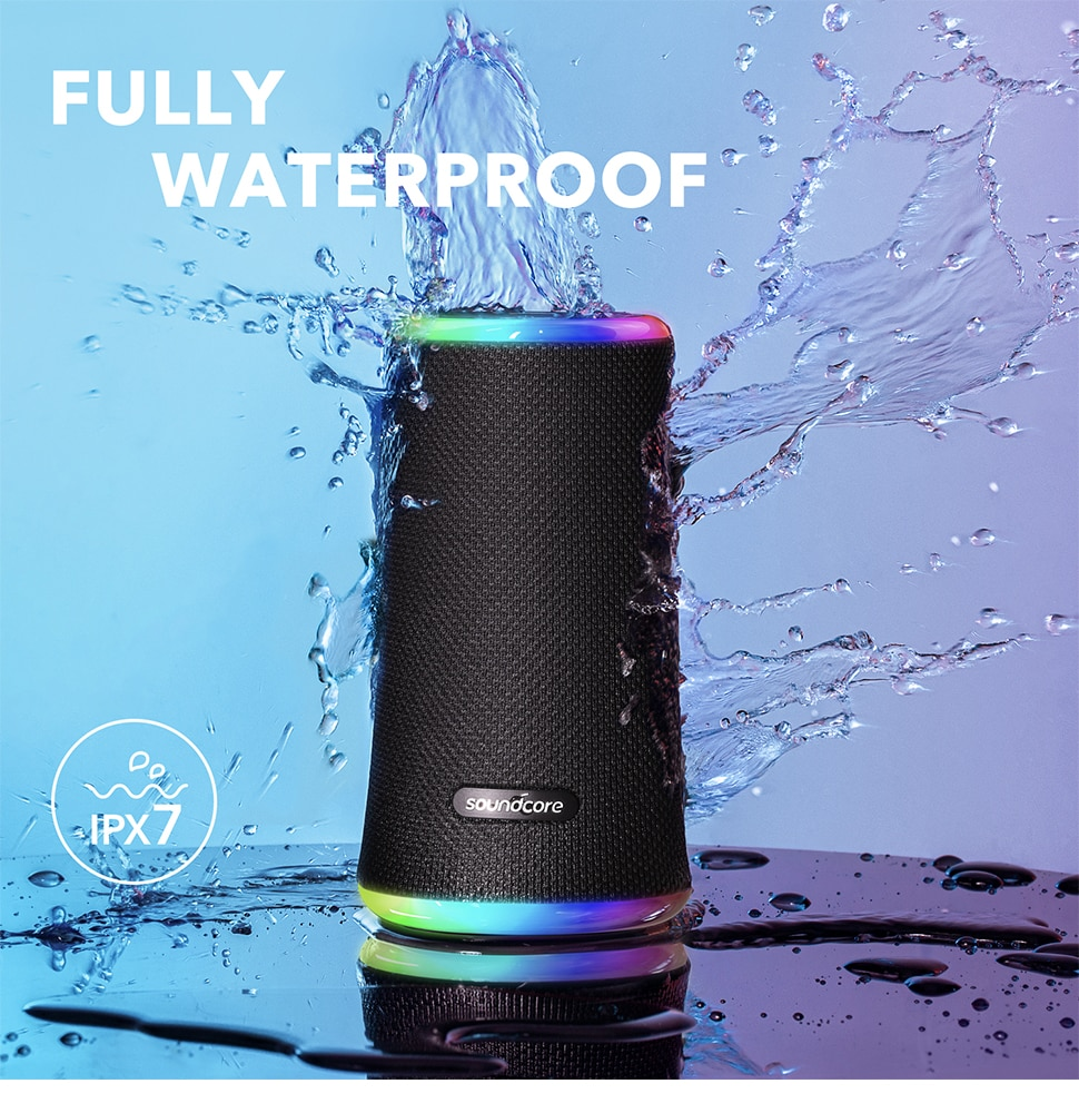 Hb0e066086c1b4140963b6e0849685f5fh - Anker Soundcore Flare 2 Bluetooth Speaker, with IPX7 Waterproof Protection and 360° Sound for Backyard and Beach Party, 20W Wire