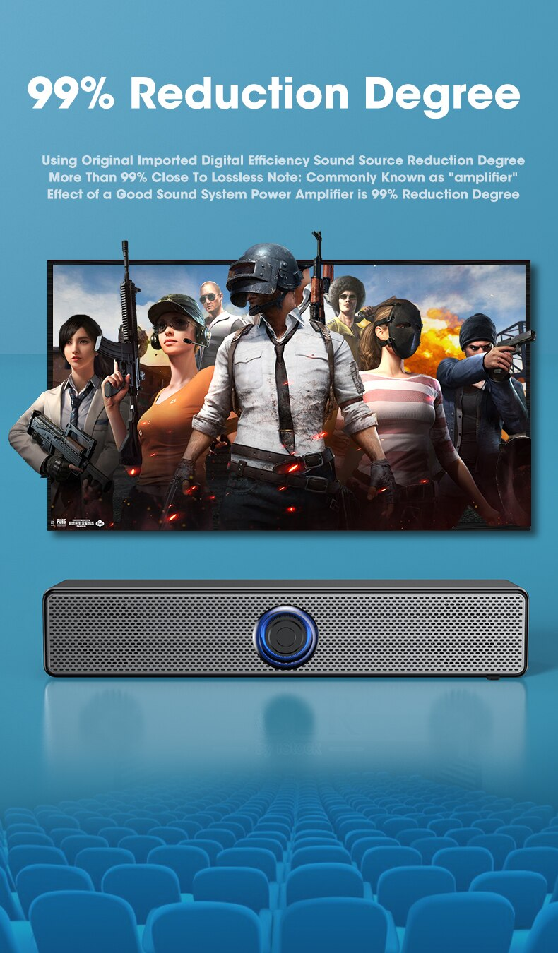 Hb1a5740141a54e00b56073a5bc3b2f68h - PC Soundbar Wired and Wireless Bluetooth Speaker USB Powered Soundbar for TV Pc Laptop Gaming Home Theater Surround Audio System