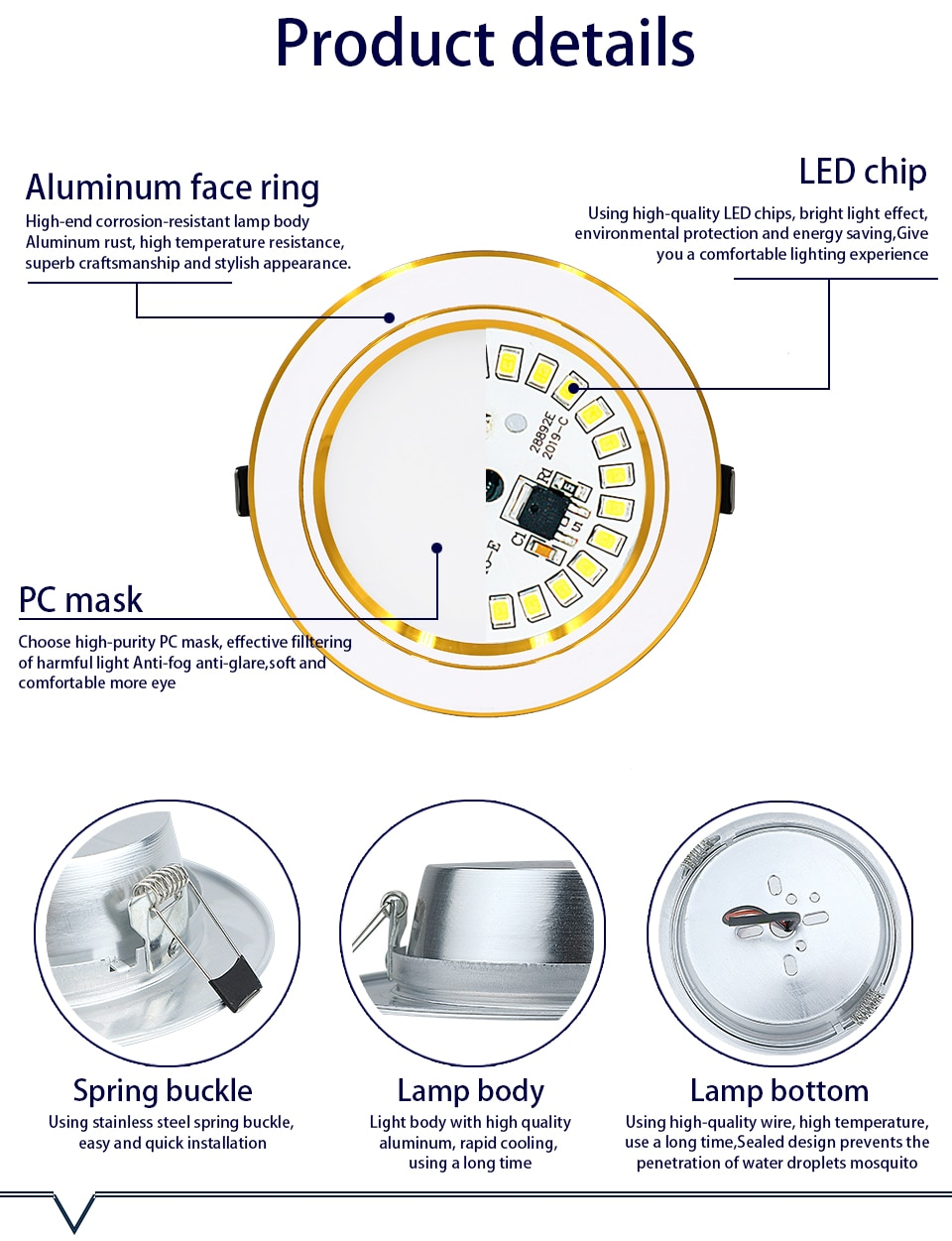 Hbd0b607cd78947a9a23b648ae394286eq - 10pcs/lot LED Downlight 5W 9W 12W 15W 18W Recessed Round LED Ceiling Lamp AC 220V-240V Indoor Lighting Warm White Cold White